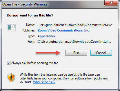 Run File - Security Warning