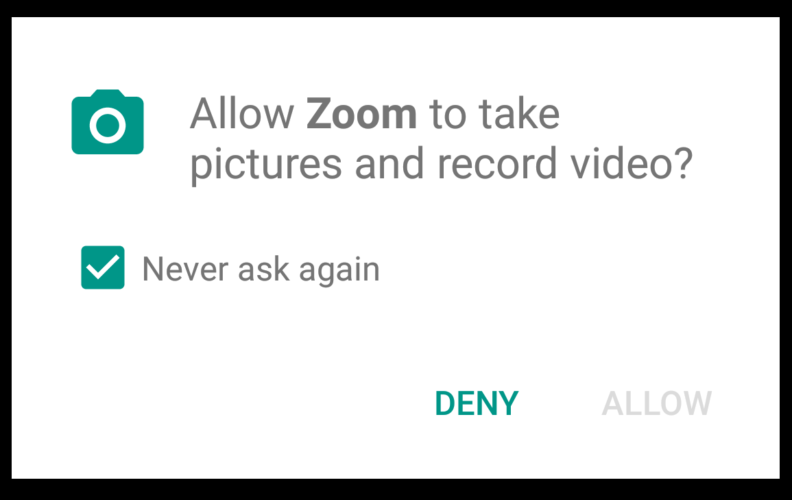 Allow Zoom to take pictures and record video? Never ask again is checked