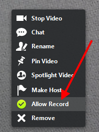 Allow Record option