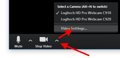 "Caret icon and then ""Video Settings"""