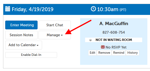 "Meeting panel example; header has date and time. Arrow pointing at ""Manage"" button."